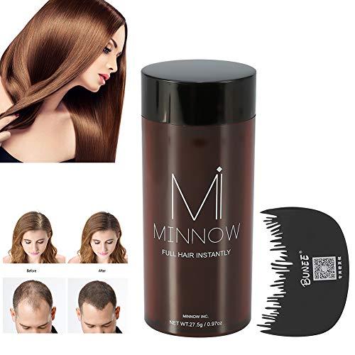 Fibre per capelli, capelli in polvere Minnow 4 tipi donne uomini Calvizile concealer ispessimento capelli fibre di costruzione in polvere con pettine di capelli professionale(Marrone medio)