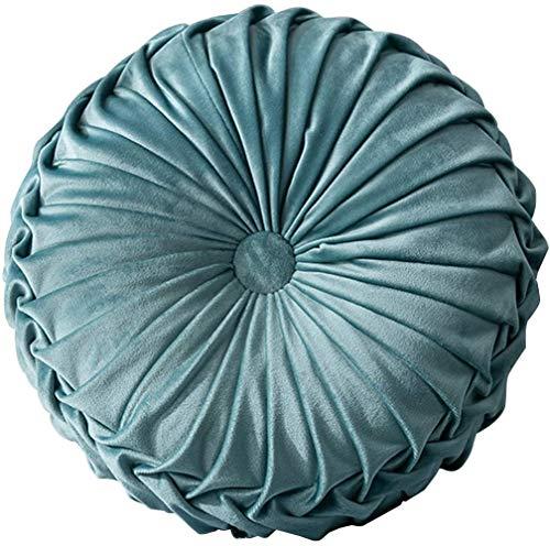 Dricar - Cojín redondo decorativo de terciopelo, 38 cm, diseño de calabaza, color azul claro