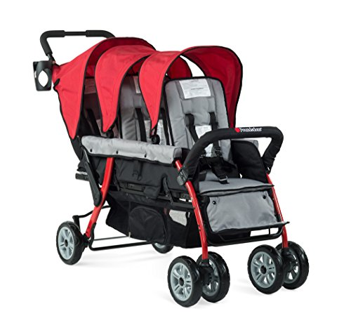 Foundations Triple Sport 3-Seat Folding Tandem Stroller with Canopy, Red