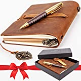 Premium Leather Journal Set: Real Authentic Antique Style & Handmade Leather-Bound Travel Diary for Artistic Men and...