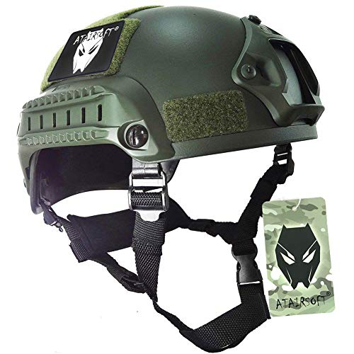 ATAIRSOFT PJ Type Tactical Airsoft Paintball MICH 2001 Helmet with Side Rail amp NVG Mount OD Green