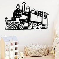 TUOJIEFAビニールデカールキッズ男の子寝室の装飾保育園の壁の装飾プレイルームアート壁画蒸気機関車ウォールステッカー子供のおもちゃの列車57x84cm