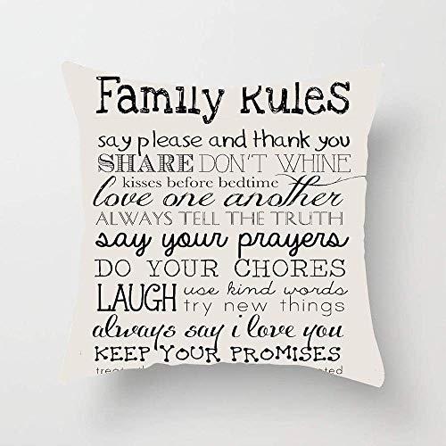 N\A Family Rules Funda de cojín rústica para sofá, Dormitorio, Coche