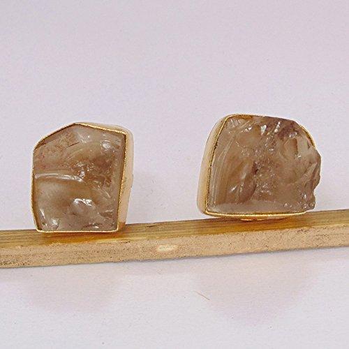 Juego de pendientes de piedra de cuarzo ahumado natural para niña