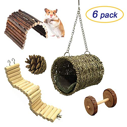 MQ Pet Hammock Hamster Hanging Toys Pet Cage Toy Set for Small Animal Squirrel Chinchilla Rat Guinea Pigs Playing Sleeping (6 Pack)