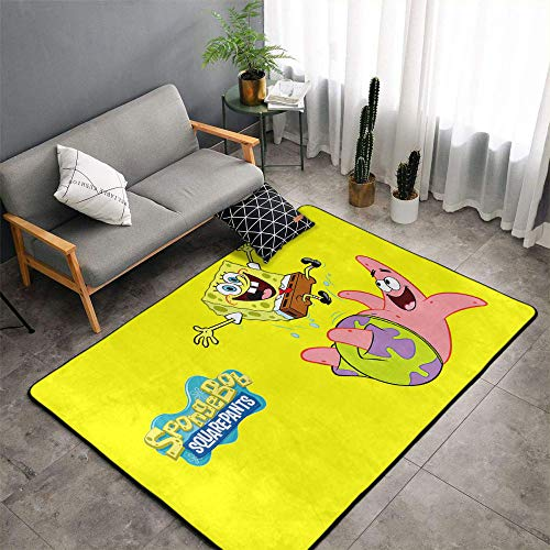 Matt Flowe - Alfombra de entrada de Bob Esponja de 4 pies x 6 pies con diseño de Bob Esponja con forma de tarta de estrellas y risas, color amarillo