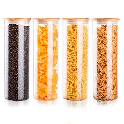 wonea - Vorratsgläser Set 4X Größe XL je 2,2 Liter Vorratsglas stapelbar aus Glas mit Bambusdeckel Vorratsbehälter rund Deckel aus Holz, Spaghetti Glas luftdicht Vorratsdosen (Bambus,4X Größe XL)