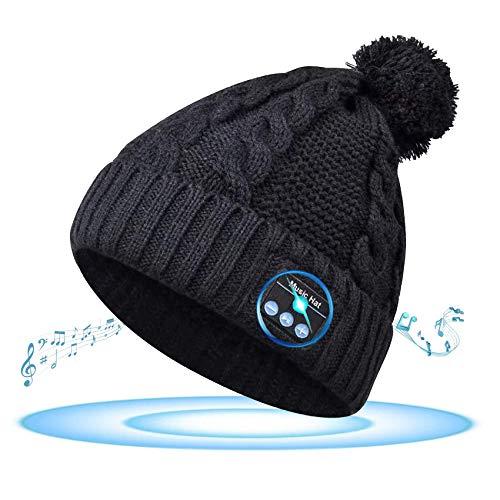 GeekerChip Gorro de Invierno Bluetooth 5.0,Regalo para Hombres,Mujeres,Gorro Bluetooth V5.0,Gorro de Punto de Invierno Cálido Extraíble y Lavable para Correr,Esquiar,Patinar