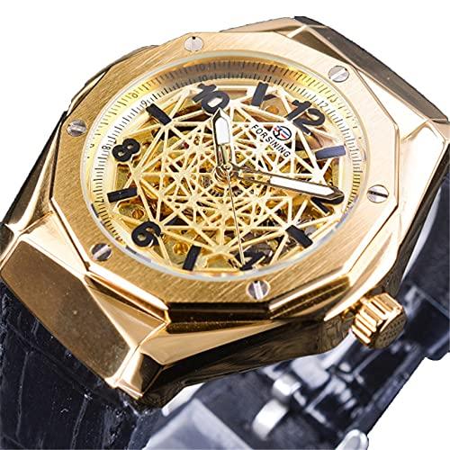 Excellent Relojes para Hombre Mecánico Automático Auto-Sinuso Correa Skeleton Luxury Impermeable Wrist Watches para Hombres,A02