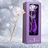 Galaxy Rose Flower Gift,Rainbow Rose Flower Present 24K Golden Foil with Luxury Box for Valentine's Day, Mother's Day, Thanksgiving Day, Christmas, Birthday Romantic Holiday