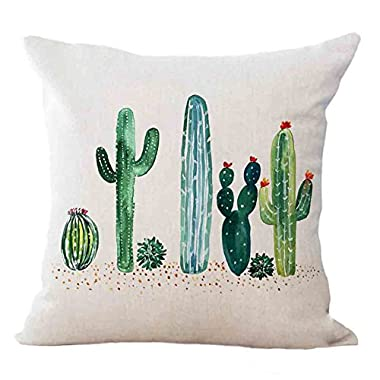 Qinqingo Tropical Succulent Plants Cactus Decorative Cushion Cover Cotton Linen Square Throw Pillow Covers Sofa Car Decoration 18 x 18 Inches (SC02)