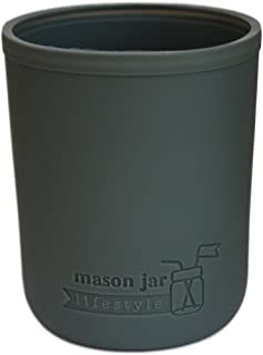 MJL Wide Mouth Pint Silicone Sleeve for Mason Jars (Charcoal Gray, 2 Pack)