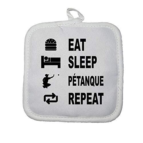 Mygoodprice manopla Guante de Cocina Eat Sleep Petanca