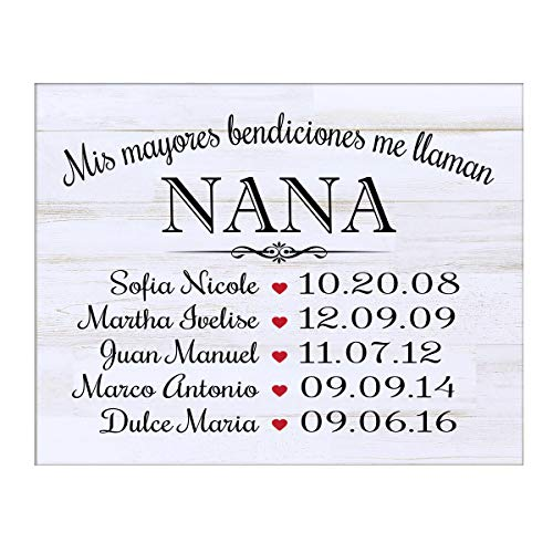 LifeSong Milestones Bendiciones familiares personalizadas Wall Plaque Regalo para Padres White Distressed Abuelos mam/á o pap/á con nombres de ni/ños y fechas de nacimiento de 12x 15