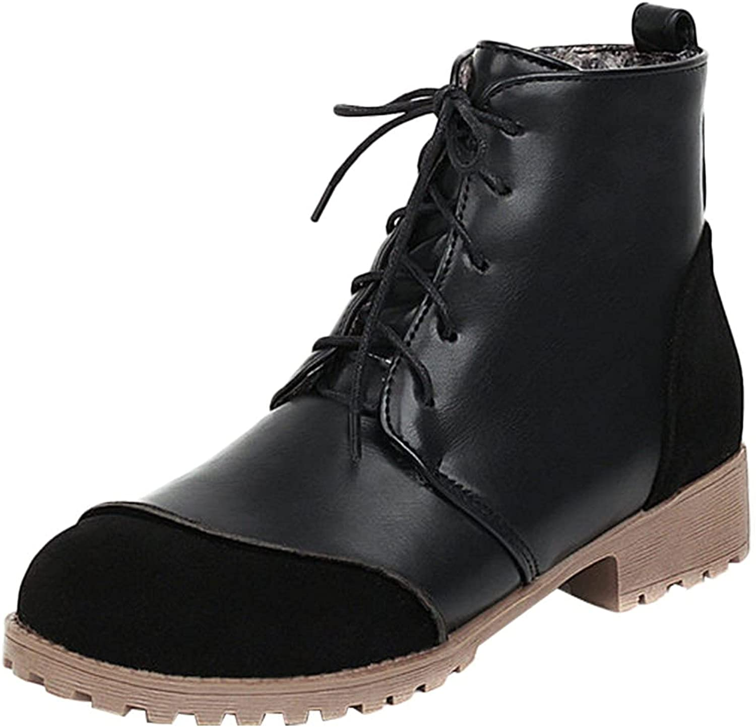 Lovor Women's Fashion Ankle Booties Causal 5-Eye Side Zipper Lace-up Combat Boots Slip Resistant Combat Service Boot