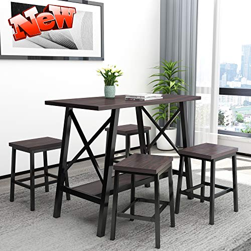 DANGRUUT Best 5-Piece Counter Height Bar Table Set, Bar Table with 4 Stools, Breakfast Bar Table and Stool Set, Kitchen Counter with Bar Chairs for Home, Living Room, Party Room, Rustic Bistro Style