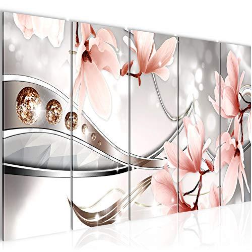 Bilder Blumen Magnolien Wandbild 200 x 80 cm Vlies - Leinwand Bild XXL Format Wandbilder Wohnzimmer Wohnung Deko Kunstdrucke Rosa 5 Teilig - MADE IN GERMANY - Fertig zum Aufhängen 207255a