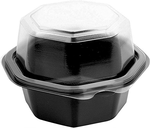 Tampa Mall Solo 866612-PS94 4.5 in Black PS Container Spring new work Hinged Clear Plastic