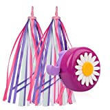U-LIAN Kids Purple Streamers and Bike Bell for Girls-1 Pack Flower Bicycle Bell with 2 Pack Handlebar Streamers Scooter Tassels for Children's Bike Accessories