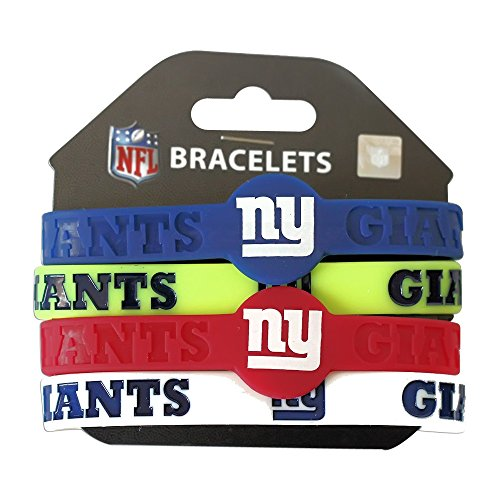 Aminco NFL New York Giants Silicone Bracelets, 4-Pack