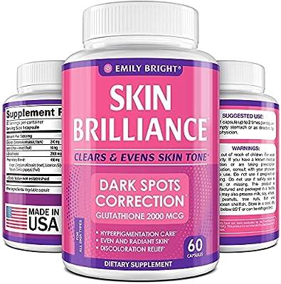 Glutathione Whitening Pills - 2000mg Glutathione - Better than Skin Lightening Cream - Dark Spots & Acne Scar Remover, Hyperpigmentation Treatment - Anti-aging Effect and Powerful Antioxidant - 60caps