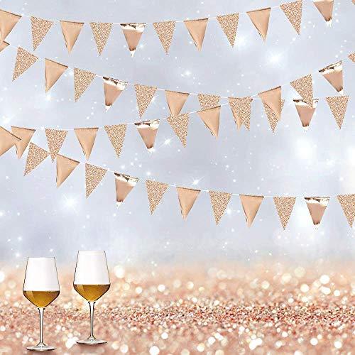 Oro Rosa Banderas Guirnaldas, SPECOOL Papel Triángulo Banner Decoracion Banderines Para Fiesta Gran Apertura de Fiestas y Picnic Patio (Rose Gold)