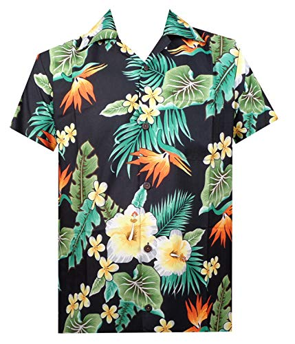 Hawaiian Shirt 46 Mens Flower Leaf Beach Aloha Party Camp Holiday Black 2XL