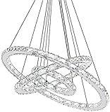 72 W LED lámpara de techo diseño de cristal de tres anillos moderna lámpara colgante de LED para comedor/salón/dormitorio/escalera/hotel/lámpara tienda de ropa