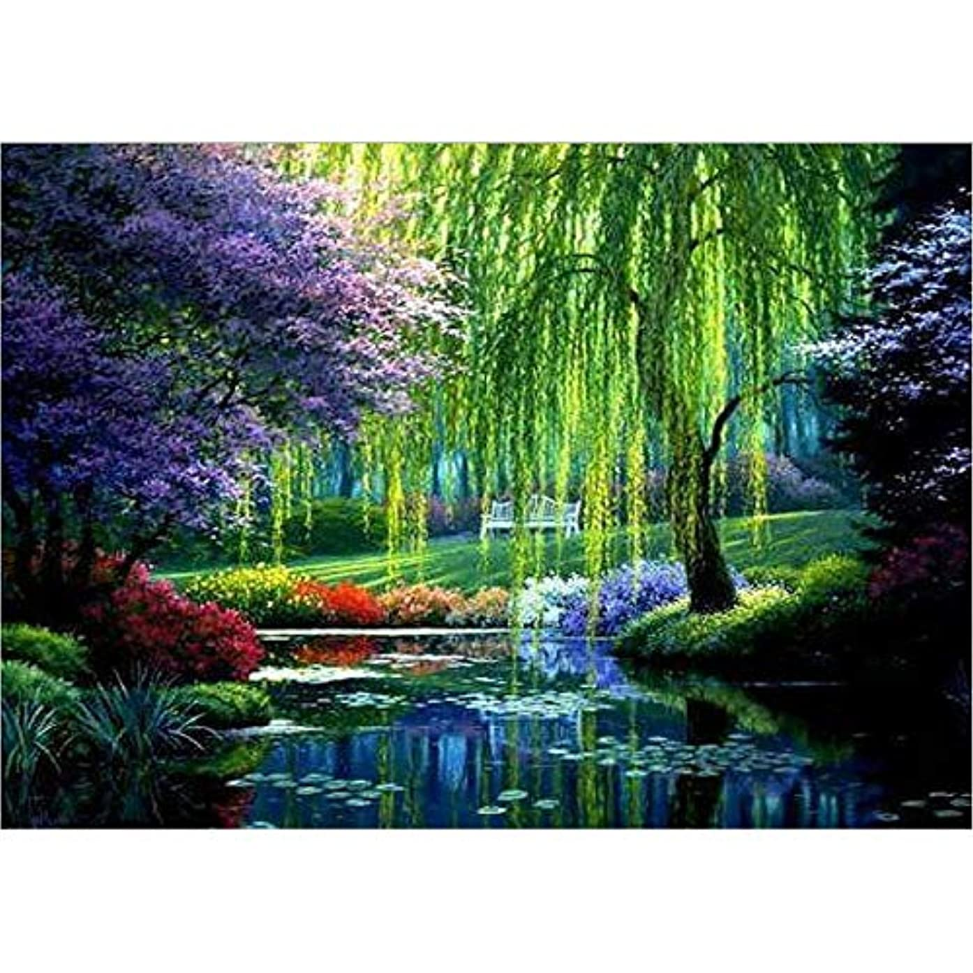 DIY 5D Diamond Painting By Number Kit Round Rhinestone Embroidery Cross Stitch Arts Craft Supply Wall Decor Tree willow(39X29CM/15.4X11.4inch)