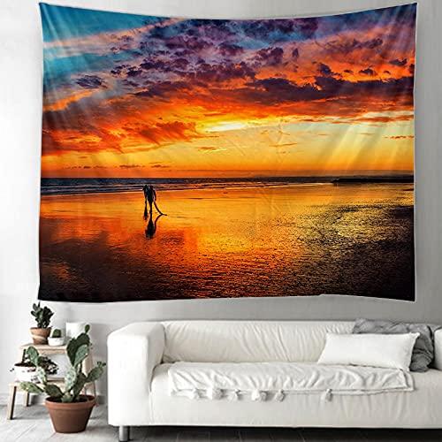 binghongcha Tapiz 3D Vista Al Mar Tapices Mat Manta De Toalla De Playa, Sábana De Playa De Picnic, Boho, Colgante De Pared Decorativo A4102 180(H) X230(An) Cm