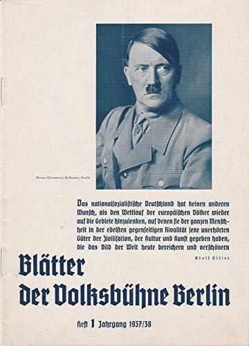 Blätter der Volksbühne Berlin Heft 1 September / Oktober 1937 Jahrgang 1937 / 38