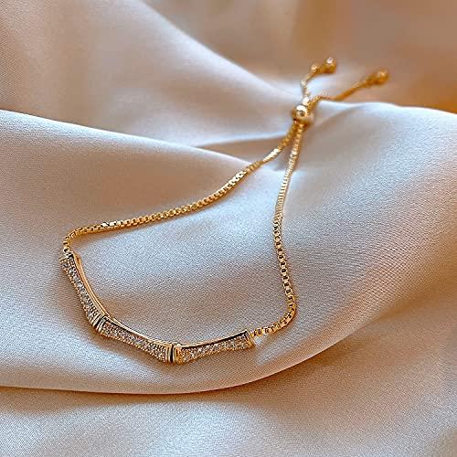 WLMT Modeschmuck Einfache Kupfer Inline Zirkon Butter Flystretchable Einstellbare Weibliche Armband (Metal Color : Reddish Brown)
