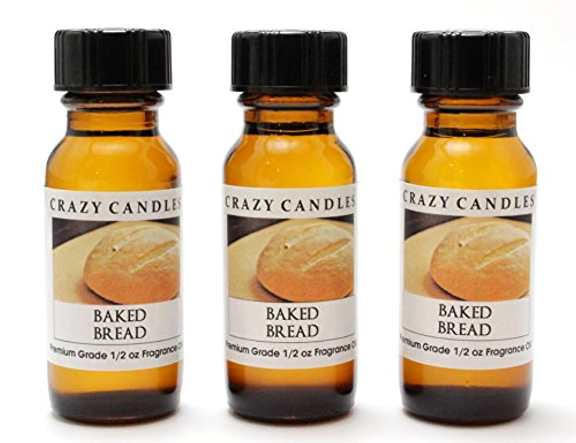 Baked Bread 3 Bottles 1/2 FL Oz Each (15ml) Premium Grade Scented Fragrance Oil by Crazy Candles