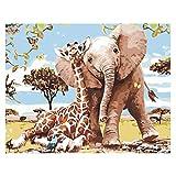 Pintar por números para Adultos Animales Jirafa y Elephante – Lienzos para Pintar por números con Pinceles y Colores Brillantes – Lienzo con numeros Dibujados para Adultos – Sin Marco