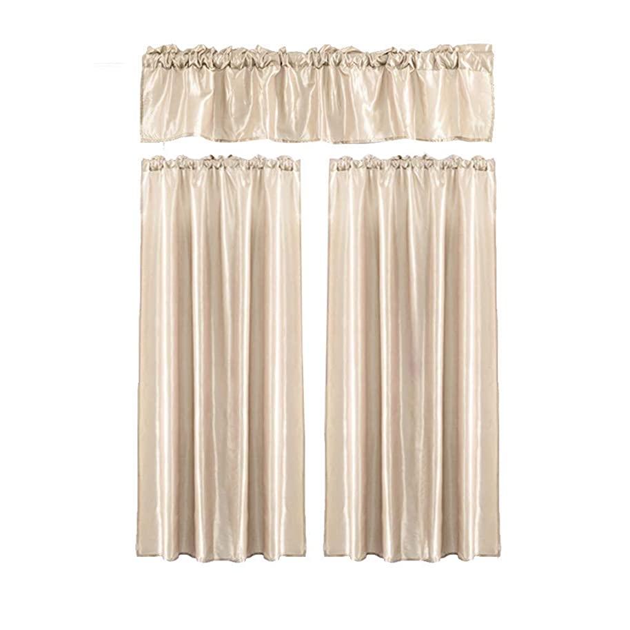 Yikey Curtain, 3Pcs Pure Color Kitchen Home Curtain with Swag Tier Window Curtain Set Suitable for Bedroom Living Room Kitchen