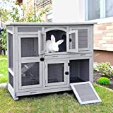 GUTINNEEN Rabbit Hutch Indoor Outdoor Bunny House Guinea Pig Cage on Wheel with Plastic Tray-47inch