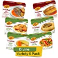 Kosher Mre Meat Meals Ready to Eat, Divine Variety (6 Pack) Beef & Chicken - Prepared Entree Fully Cooked, Shelf Stable Dinner - Canned Goods for Emergency Storage Kit, Military Survival Food Supply