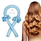 Pinze arricciacapelli da donna riscaldate in seta per la notte in morbida schiuma per riccioli e ricci naturali morbidi con 1 fermaglio per capelli e 2 anelli per capelli (blu)