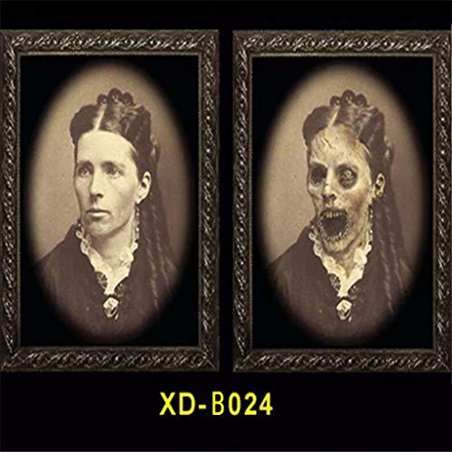 WE-WHLL 3D Gesichtsverändernde Geisterfotos Rahmen Halloween Party Dekoration Bilderrahmen-24