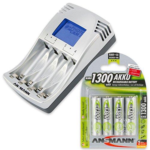 ANSMANN PhotoCam IV Akku-Ladegerät für Micro AAA/Mignon AA Akkus Steckerladegerät mit LCD-Anzeige + 4x AA Akkus 1300mAh