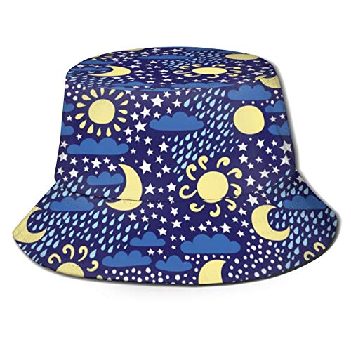 Clima Sol Luna Nube Lluvia Nieve Estrella Sombrero del Cubo Sombreros de Pescador Gorra Reversible Empacable de Verano