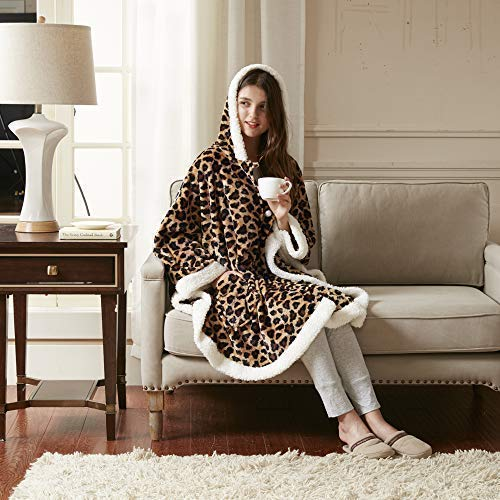Comfort Spaces – Manta Poncho, Leopard, 58″x72″, 1, 1