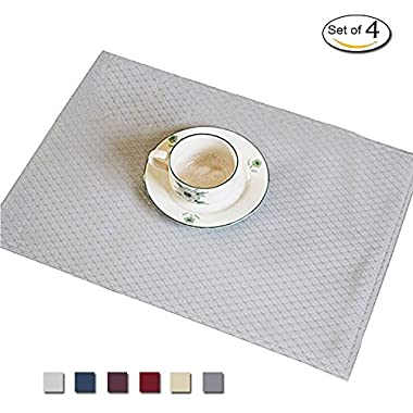 Eforcurtain Set of 4 Classic Waffle Checks Placemats Stain-resistant Reversible Eat Mat Fabric Placemats Spillproof for Living Room, Grey, 13 By 19-inch