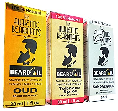 The Authentic Beardman's Beard Growth Oil For Thicker Fuller Beard - 3 Luxurious Scents - Oud | Tobacco Spice | Sandalwood - Beard Gifts For Him by AL HOOR