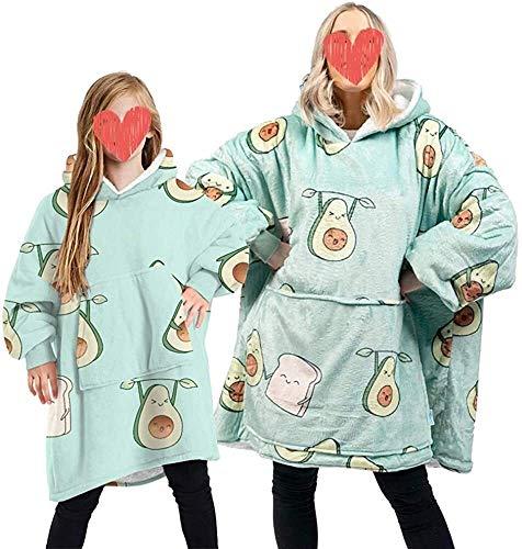 Hoodie Decke in Überdecke Hoodie for Männer Frauen Kinder Kapuzendecke mit großer Fronttasche Familie Matching (Color : Green - Avocado, Size : 7-13 Years)