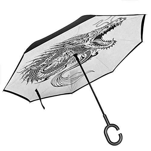 homecoco Windproof Reverse Japanese Dragon,Doodle Sketch Artwork Style Detailed Roaring Dragon with Scales and Tail, Black White Women's Umbrellas