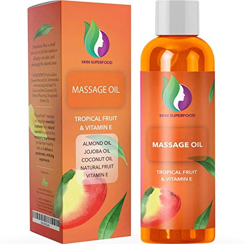 Aromatherapy Sensual Massage Oil for Couples - Tropical Flavored Massage Oil for Massage Therapy with Jojoba Coconut and Sweet Almond Oil for Skin Care - Relaxing Massage Oil and Moisturizing Body Oil