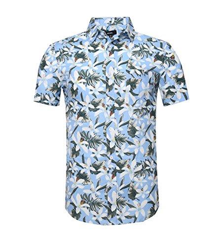NUTEXROL Camicia Uomo Stampa Fiori, Camicia con Chiusura Bottoni Abito Uomo t Shirt Manica Corta, Blu Chiaro, L