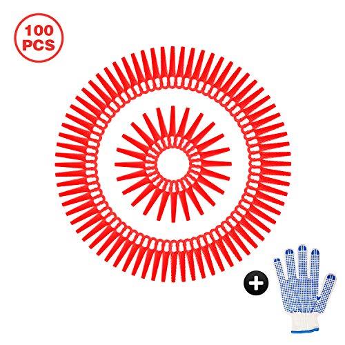 Happylohas Rasentrimmer-Zubehör 100 Stück Kunststoffmesser für Akku-Rasentrimmer Bosch, Einhell, großen Lochdurchmesser is 12 mm ((rot))