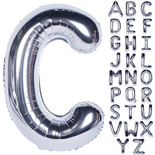 CHANGZHONG Große Mylar Folie Helium Brief Luftballons 40 Zoll Silber Luftballons Alphabet Buchstaben für Geburtstag Brautdusche Jubiläumsdekorationen(Letter C)